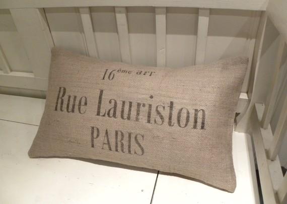French France Paris street address burlap pillow cushion