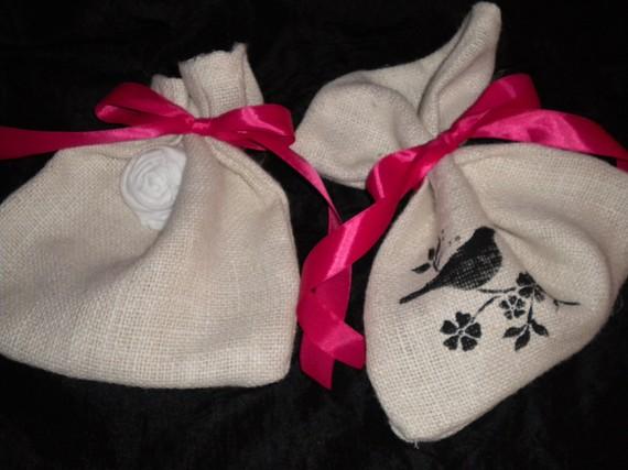Set Of Two Burlap Gift Bags