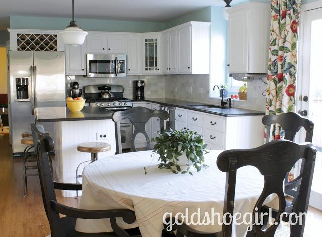 Goldshoegirl White Kitchen Cabinets Black Granite Counters Meander Blue Walls My Uncommon Slice Of Suburbia