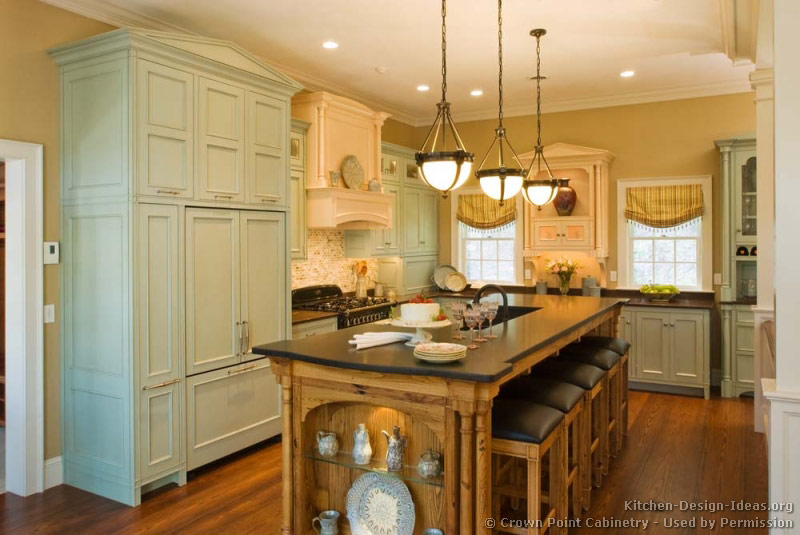 Kitchen Cabinets Traditional Two Tone 146 Cp054a Green Antique White Wood Hood Island Seats My Uncommon Slice Of Suburbia