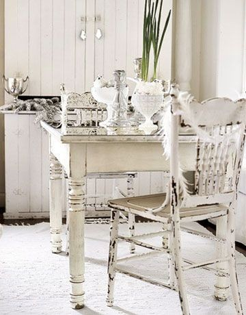 shabby chic white tables and chairs