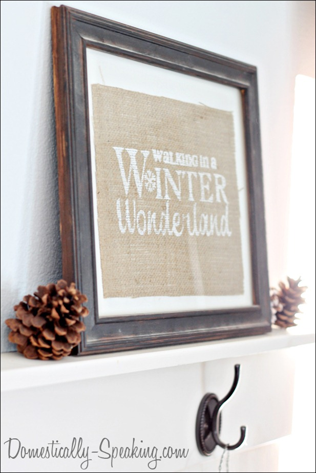 Walking in a Winter Wonderland Painted Burlap Sign