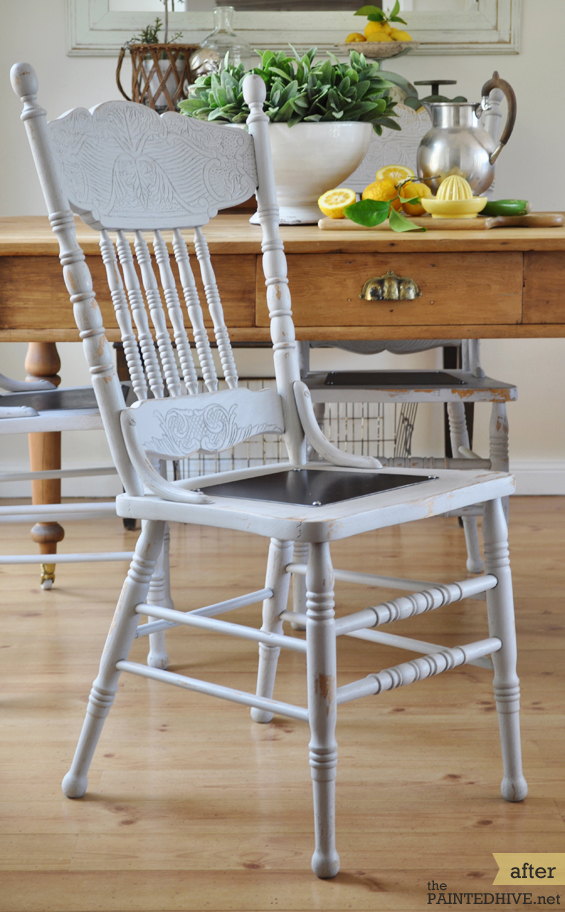 Cottage Chair Revamp with Metal Seat Plate