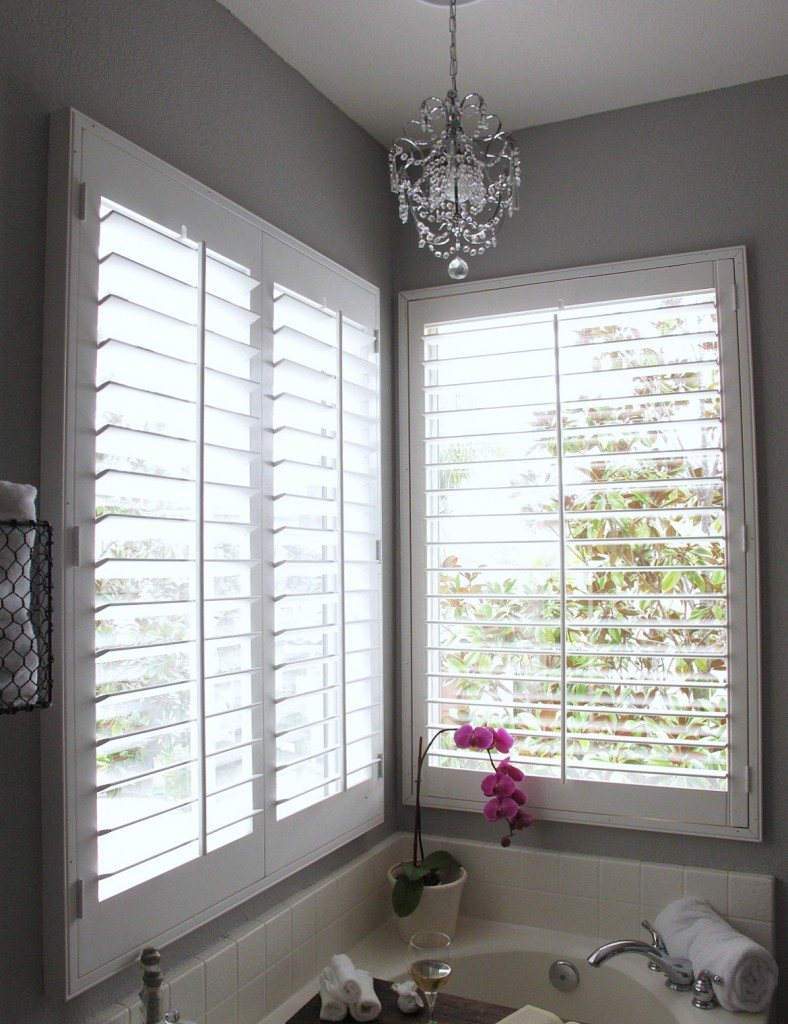 Master bath with shutters - Plantation shutters for bathroom ...