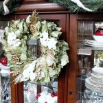 China hutch decorated for Christmas