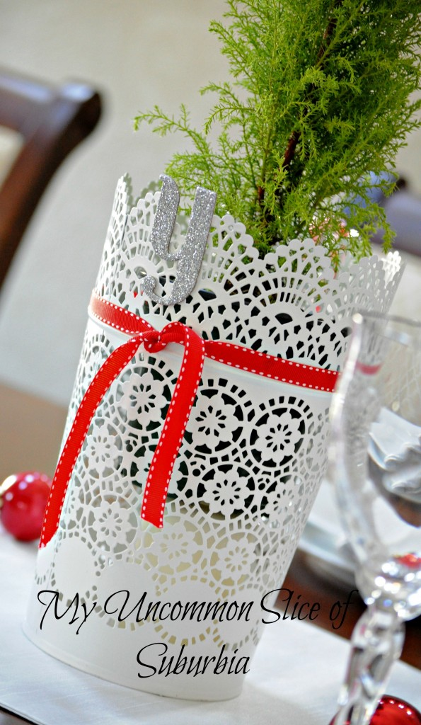 House Tour Red and White Christmas table setting