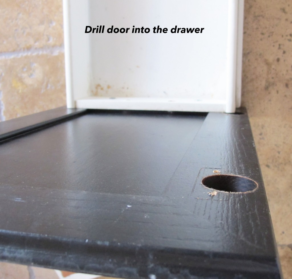 Turn a drawer and a door into a pull out trash ca