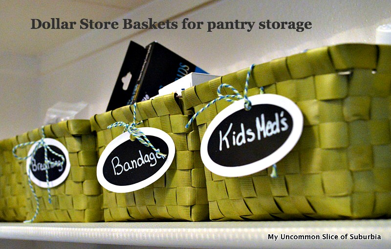 Pantry storage with dollar baskets