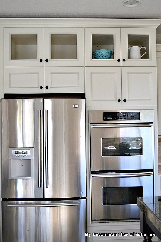 White cabinets with glass