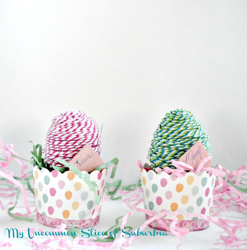 Twine -Wrapped- Plastic- Eggs-for- a -place -setting
