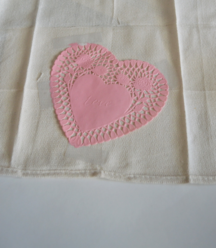 DIY Tea Towel using a doily stencil
