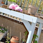 Newly painted gardening bench