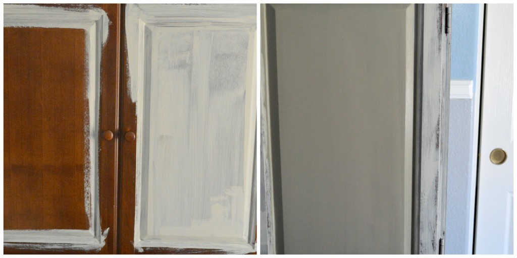 Armoire transformation using chalky paint