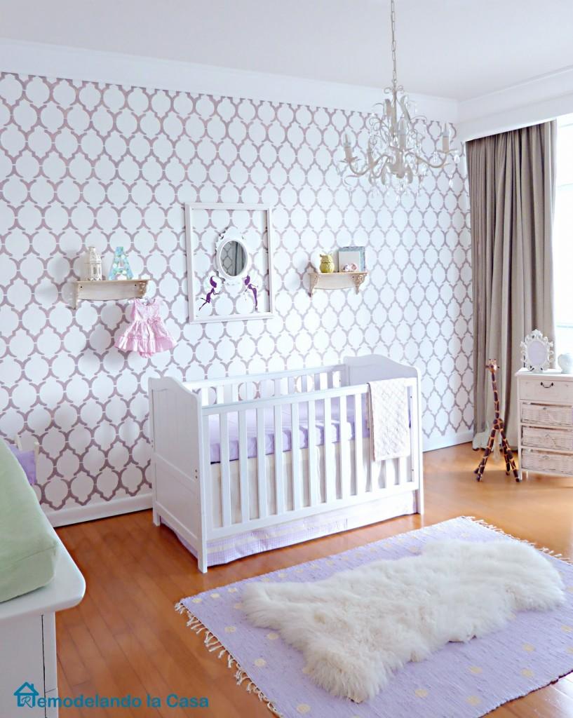 Baby girl nursery -stenciled wall -purple-mnlg