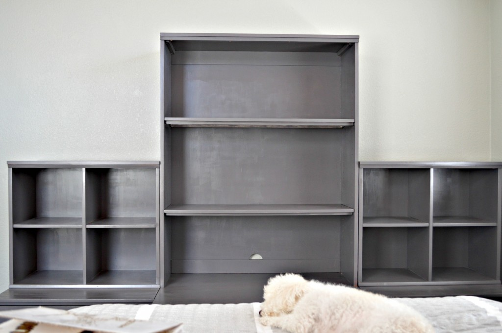 Pottery barn bookshelves painted