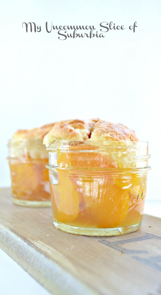 Peach Cobbler in a jar perfect single serving
