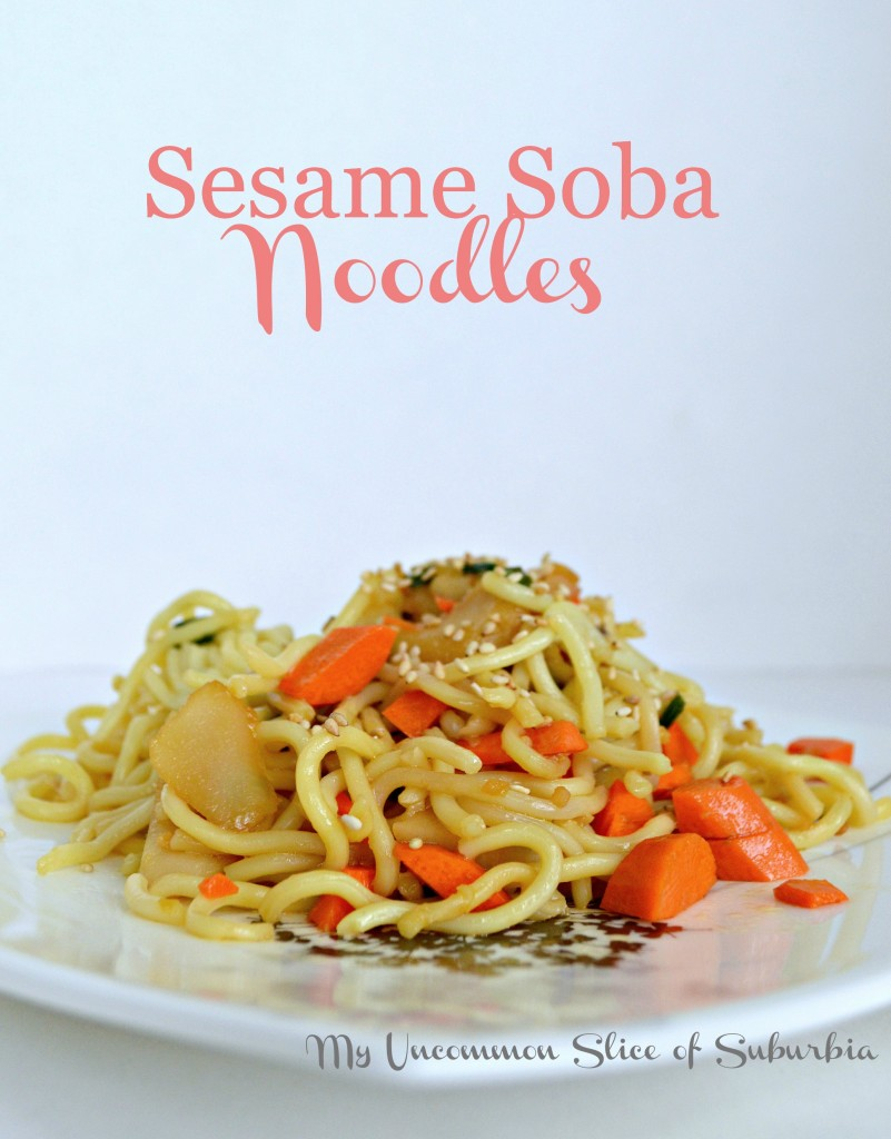 Sesame Soba Noodles with water chestnuts and carrots