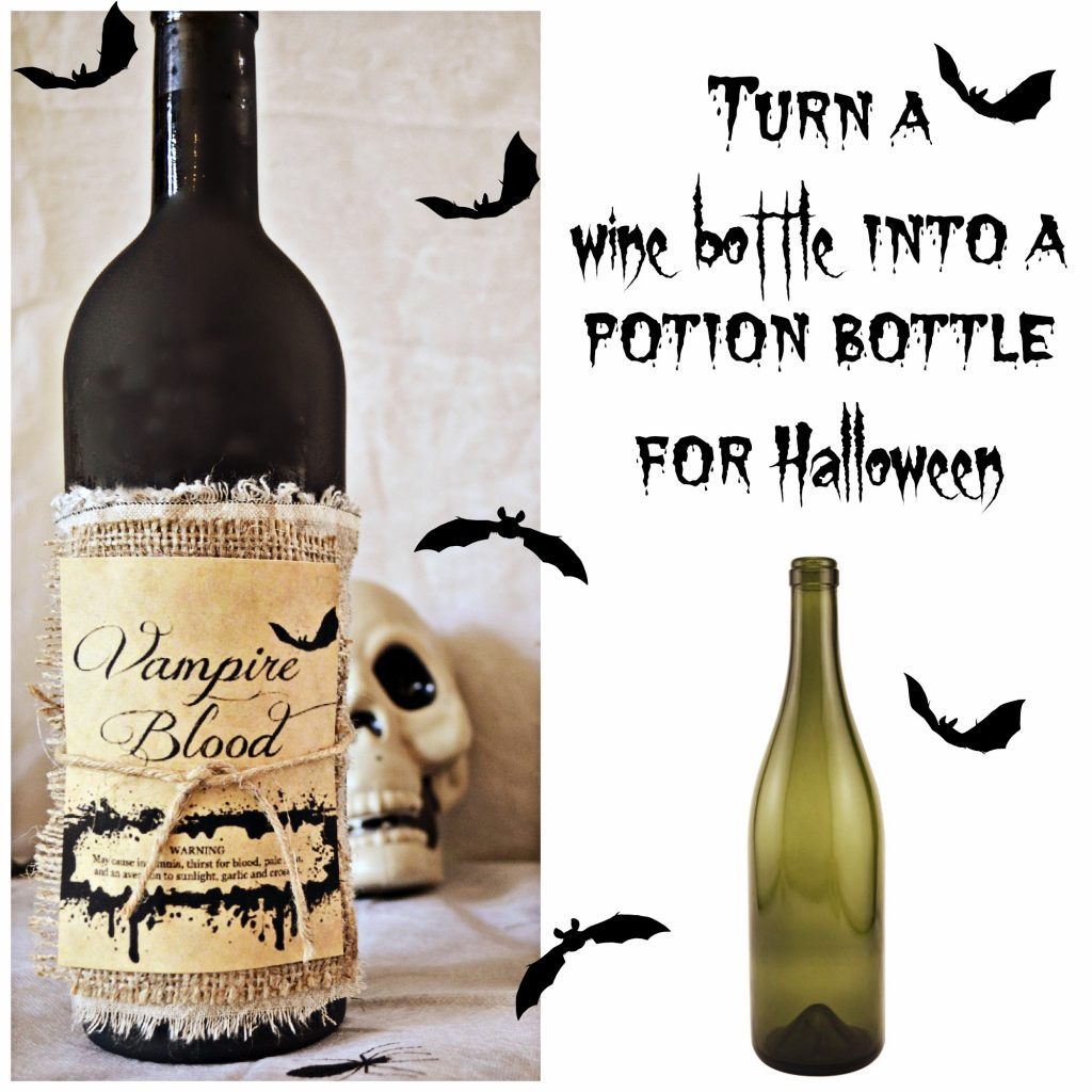 Turn a wine bottle into a potion bottle