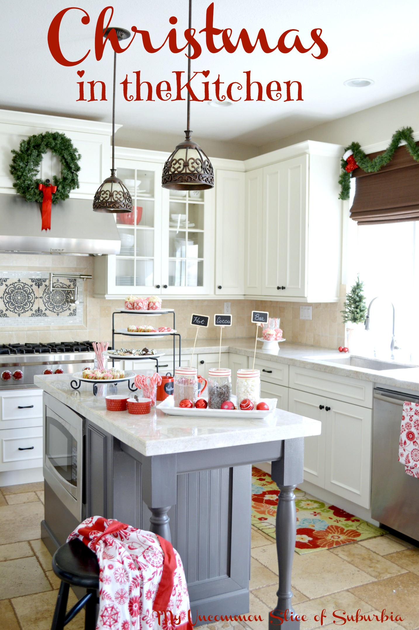christmas decorating in the kitchen. Black Bedroom Furniture Sets. Home Design Ideas