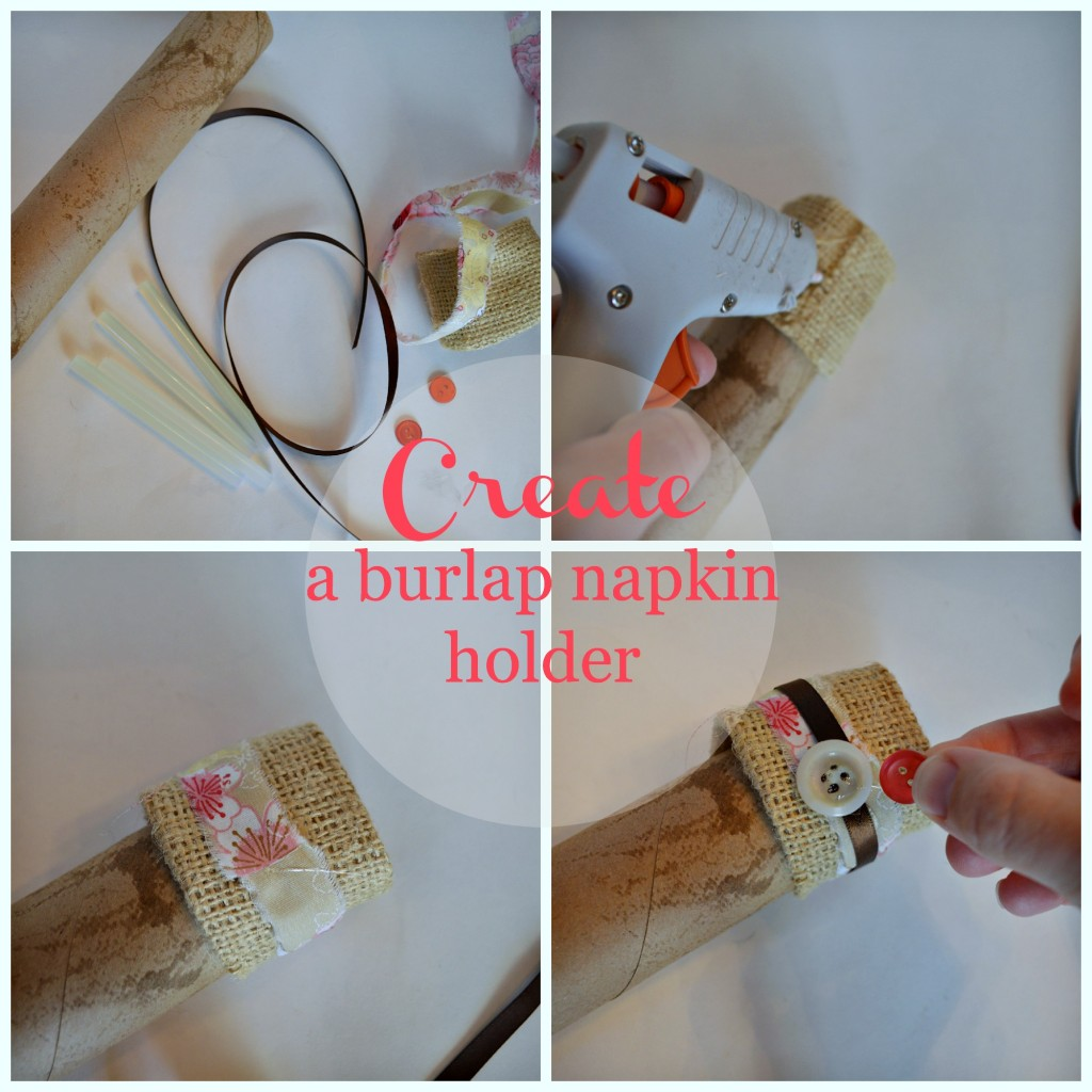 create a burlap napkin holder