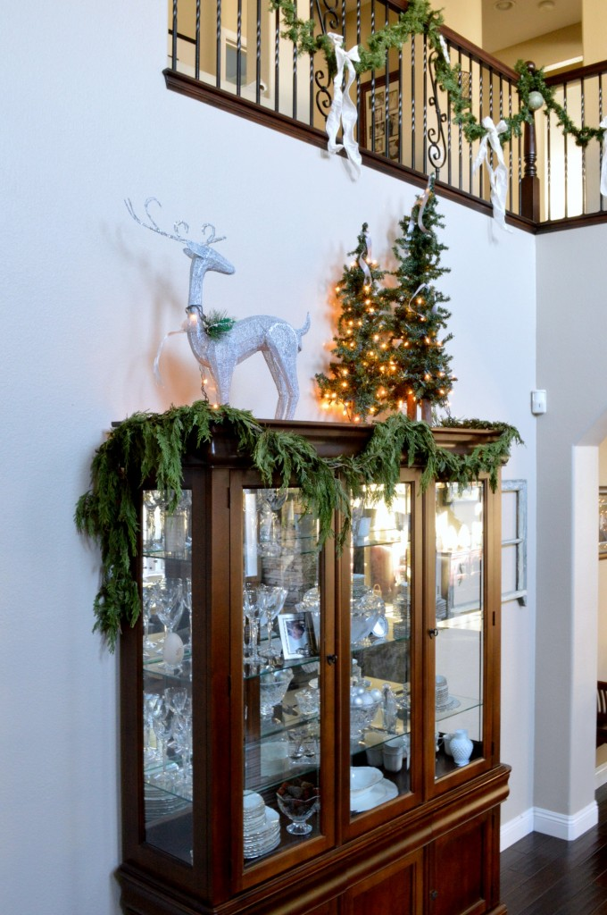 China cabinet in silver and green for CHristmas