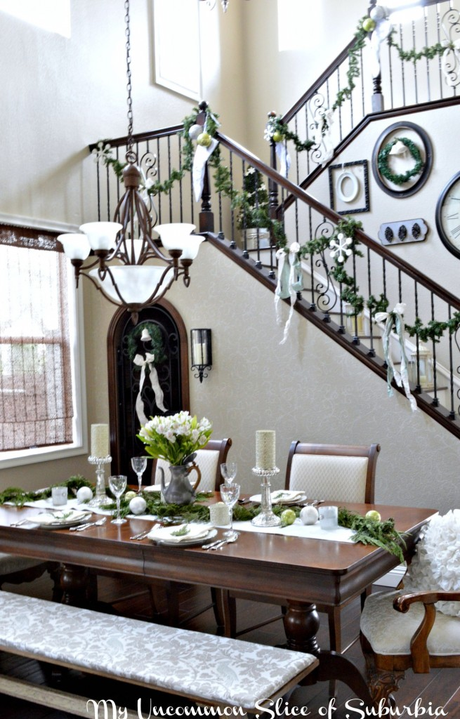 Dinning room and stairs for Christmas
