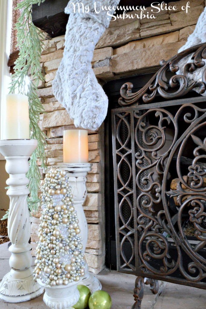 Fireplace in green and silver for christmas