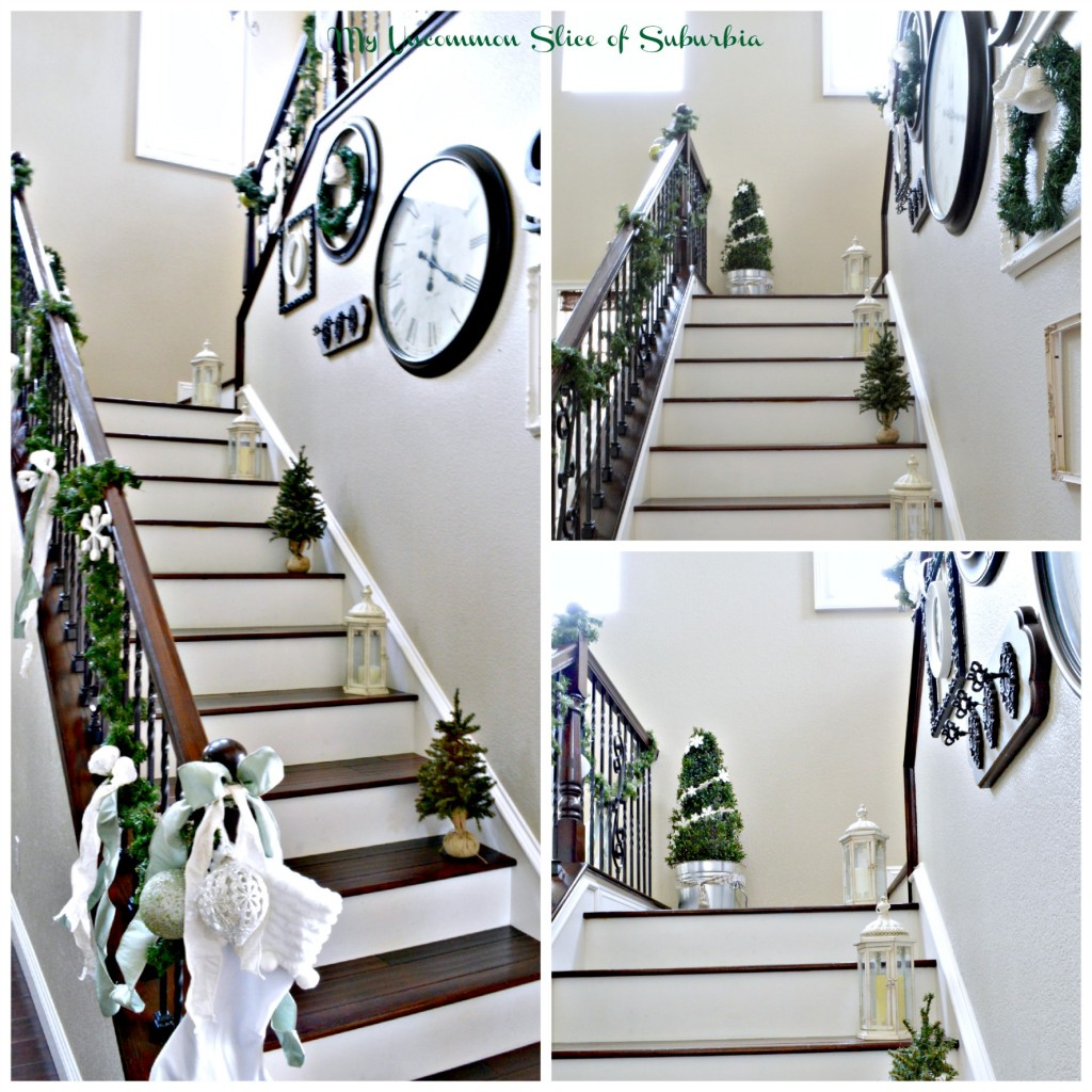 Green and white elegant stairway