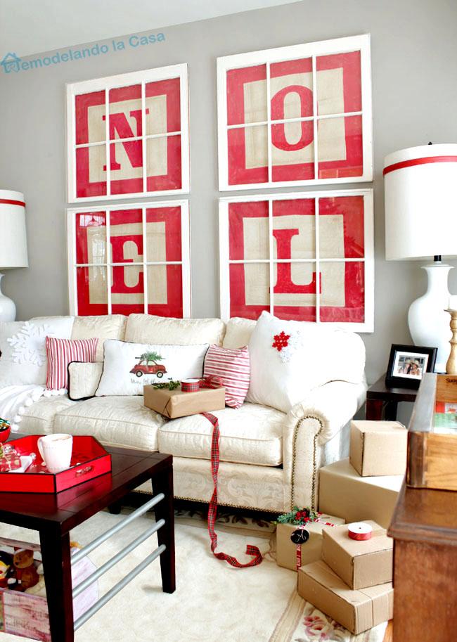 NOEL alphabet letter block art - Christmas Living Room1