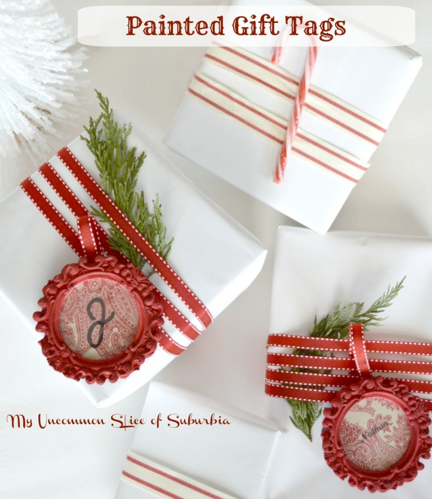 Painted gift tags using mini ornate frames