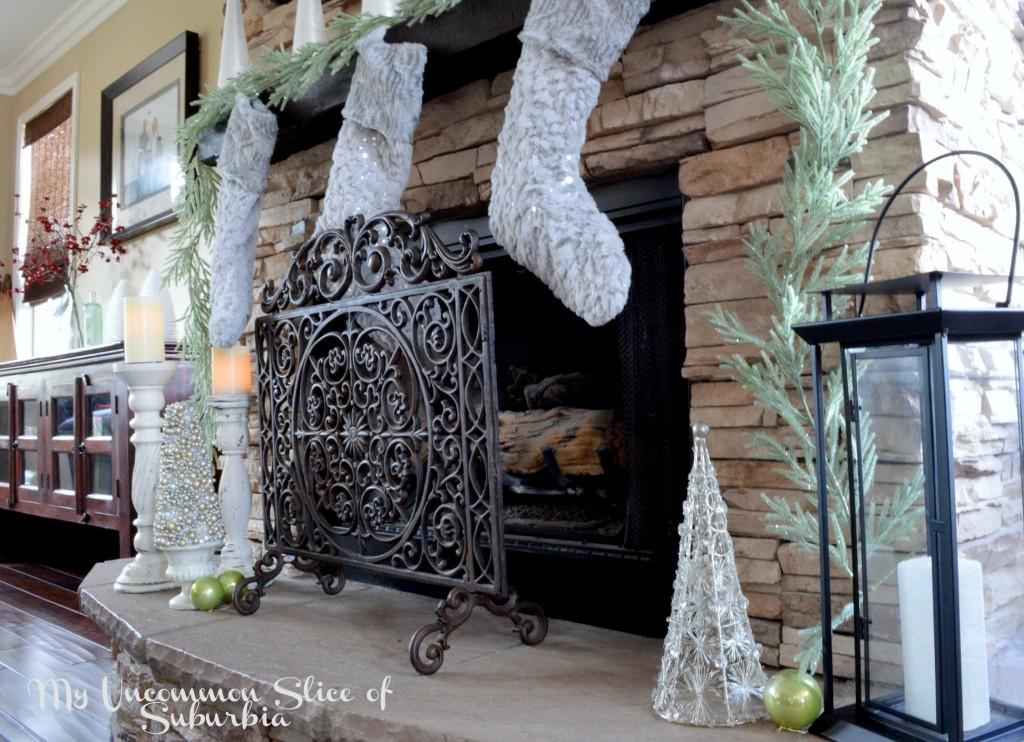 Rustic mantel dressed for Christmas