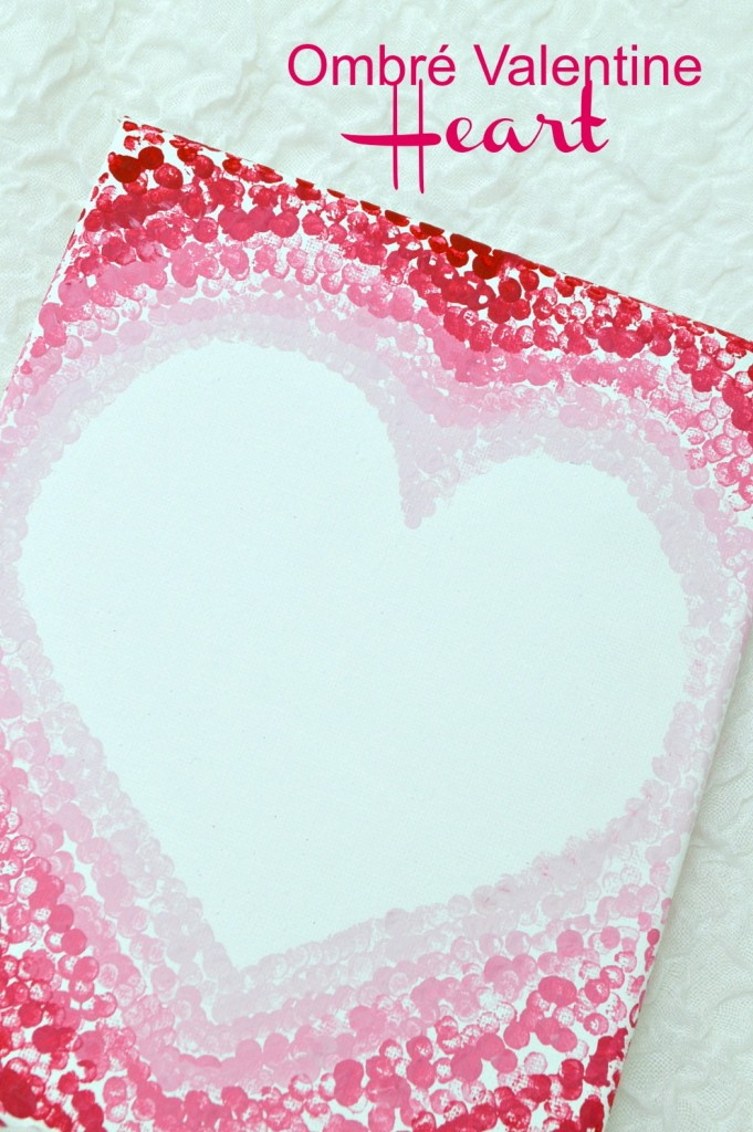 Ombre valentine Heart on canvas