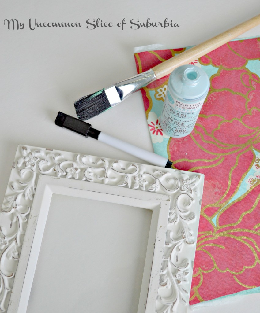 Supplies to turn a frame into a dry erase memo board