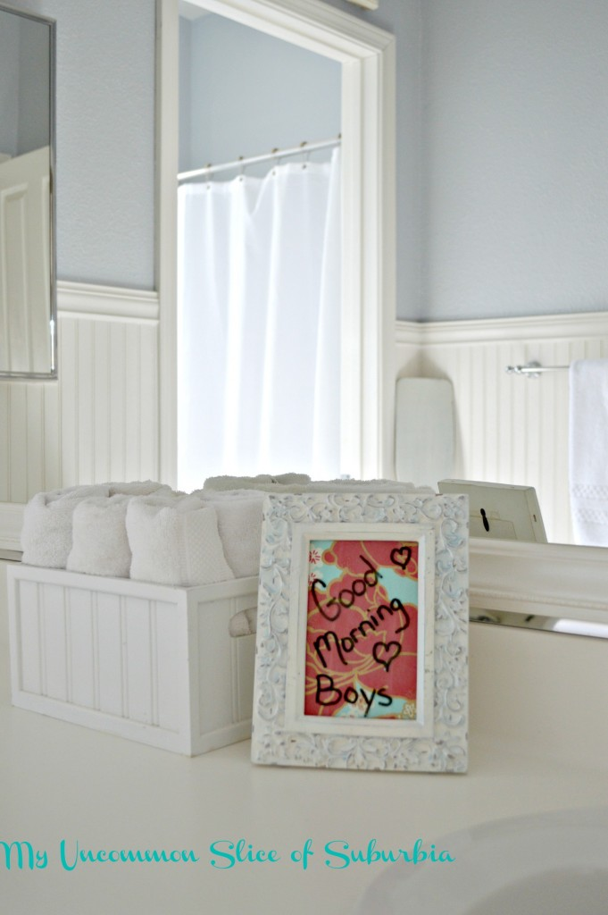 Write on a old picture frame with a dry erase marker