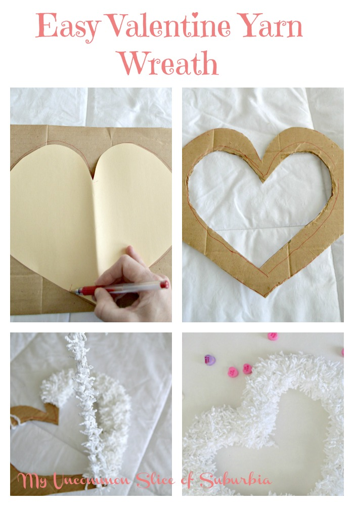 Easy Valentine Yarn Wreath with tutorial