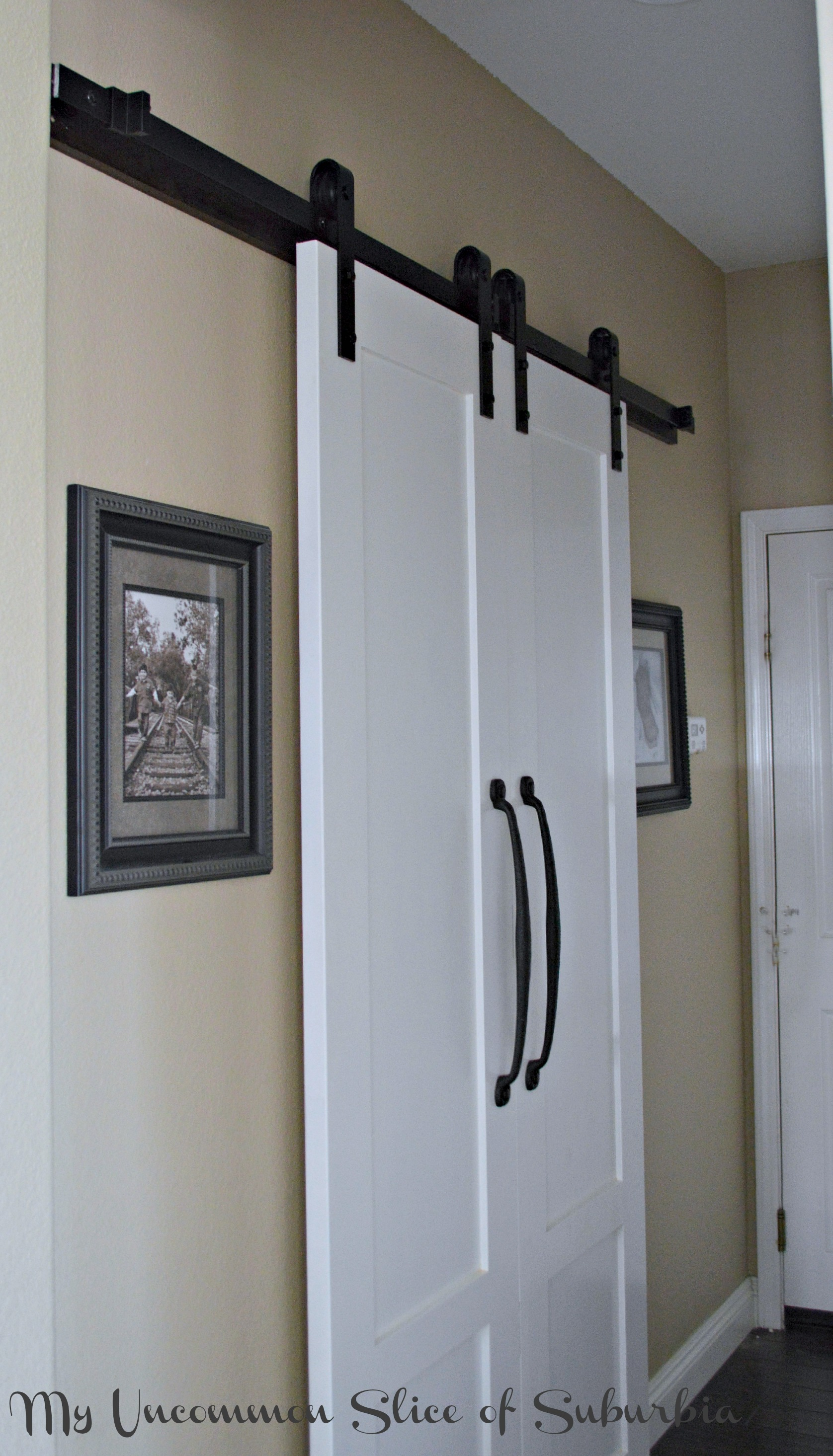 Barn doors for the laundry room for Small closet barn door