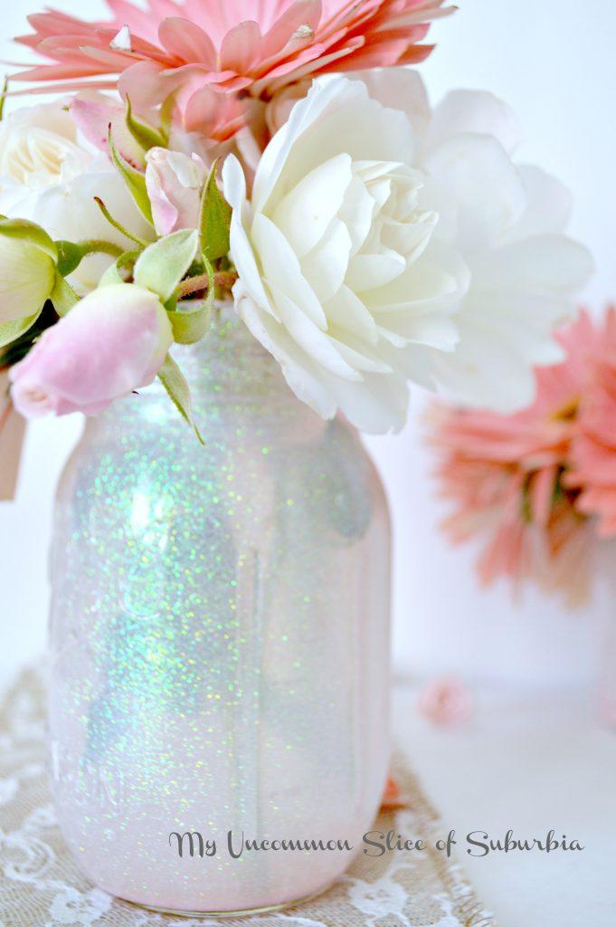 Mason Jar painted with glitter