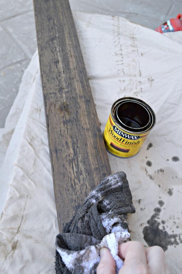 Staining the rail backer for barn doors