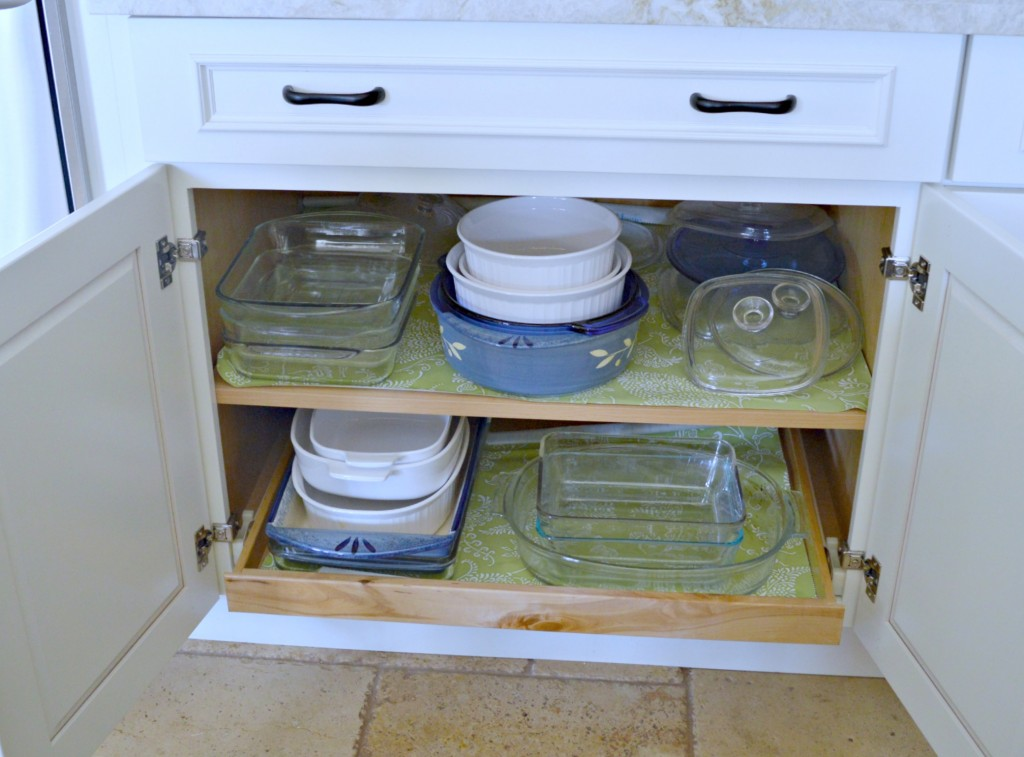 pull out tray in cabinet for easy access