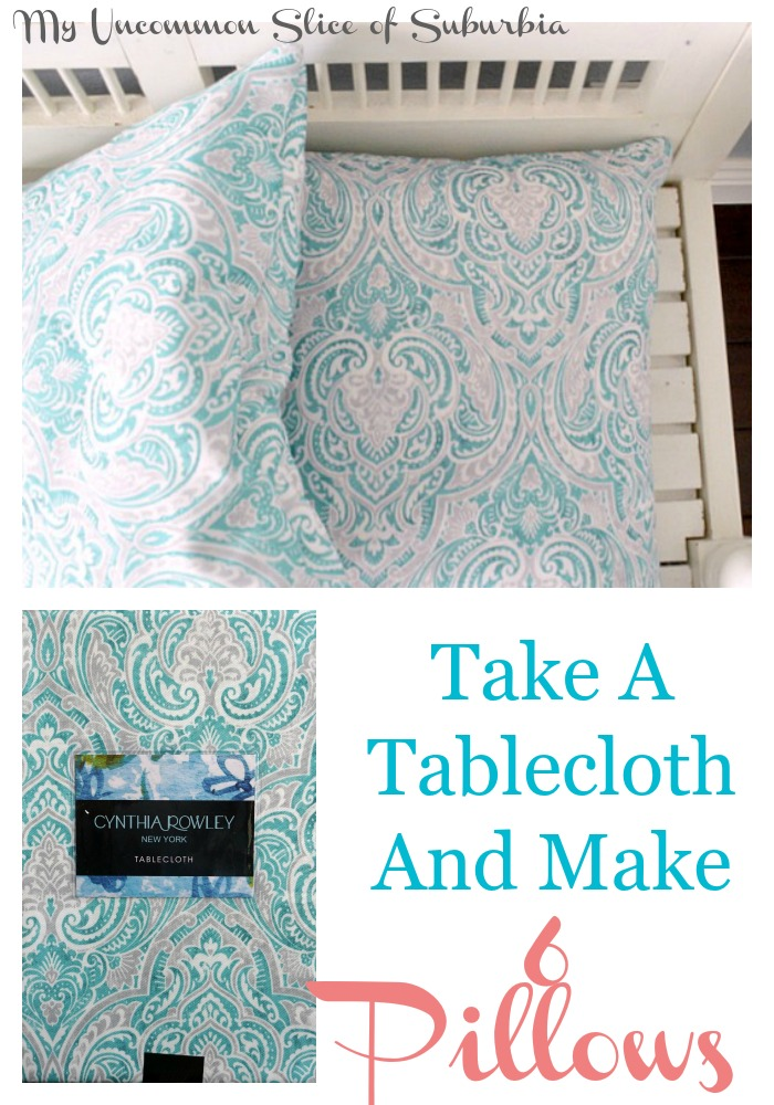 How to take a tablecloth and make 6 pillows out of it