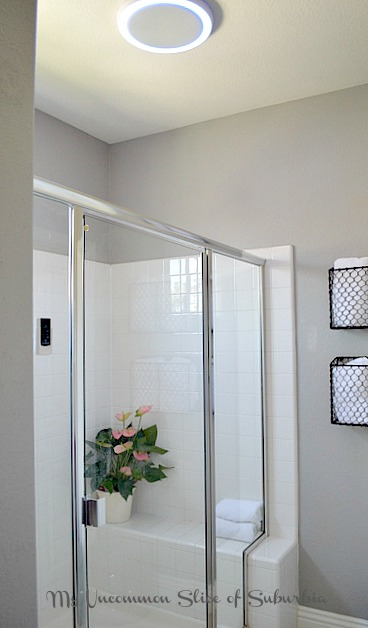 Shower with fanled light and bluetooth system!