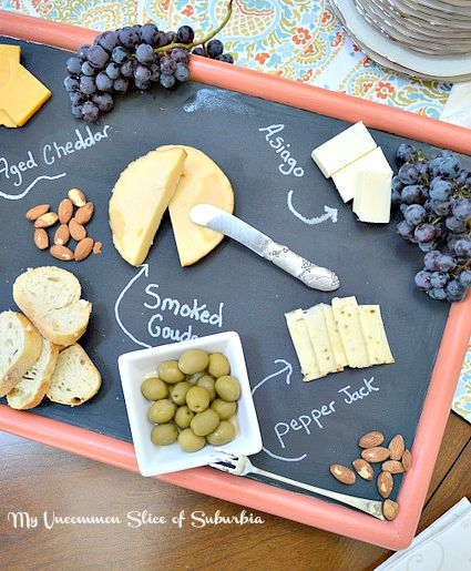 DIY Cheeseboard Tray Made from a old TV Tray