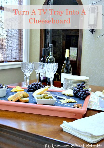 Turn a tv tray into a cheeseboard easy step by step tutorial