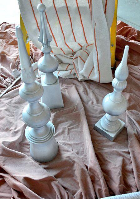 Spray paint finials to transform them