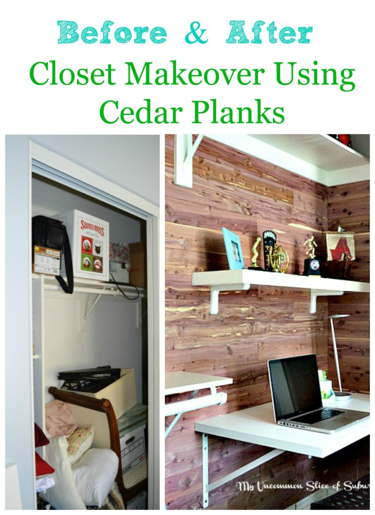 Before and after closet makeover using cedar planks