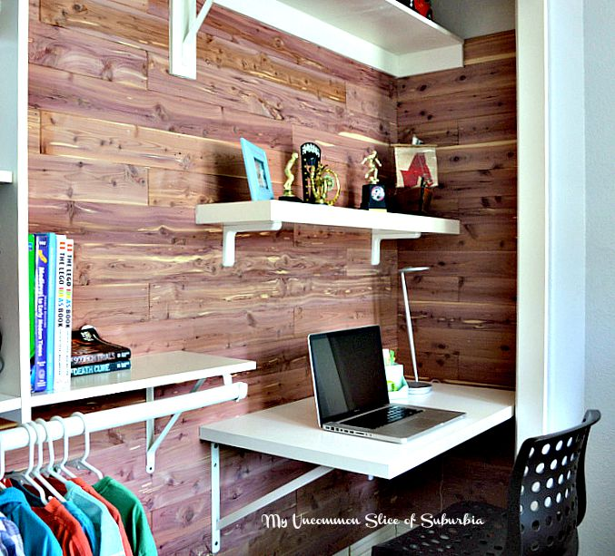 Boys closet redone with desk and cedar planking