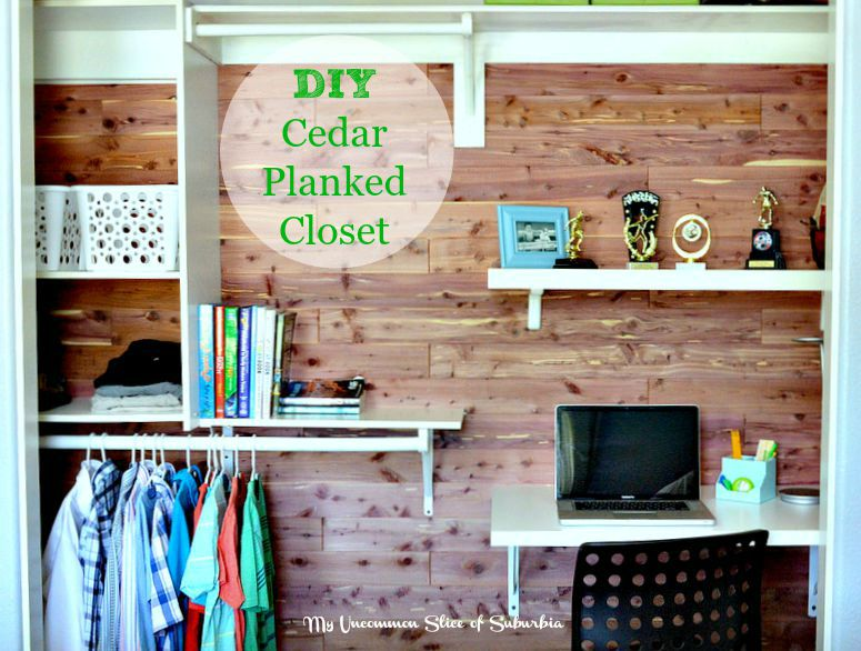 DIY Cedar planked closet with built in desk
