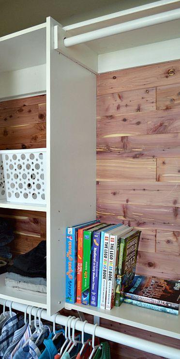 Organized closet with cedar planking