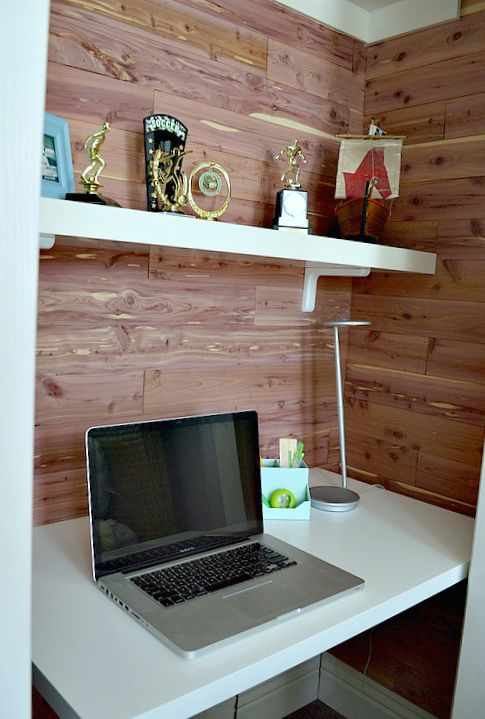 add a desk into a small closet