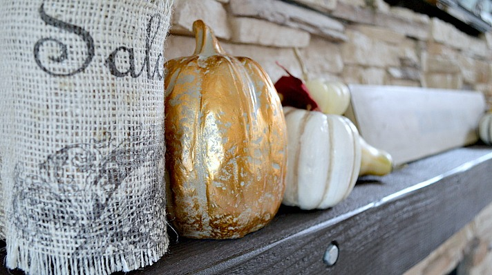Fireplace mantel for fall, rustic and elegant